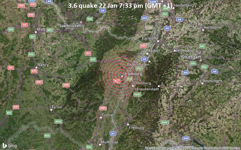 3.6 quake 22 Jan 7:33 pm (GMT +1)