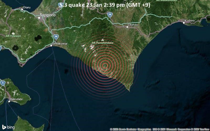 Moderates Erdbeben der Stärke 5.3 - 30 km östlich von Shizunai-furukawachō, Hidaka-gun, Hokkaido, Japan, am Samstag, 23. Jan 2021 um 14:39 Lokalzeit