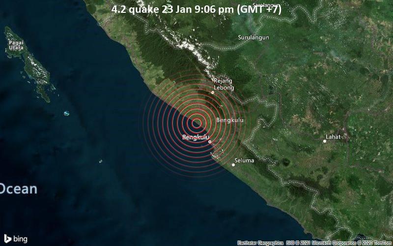 Erdbeben der Stärke 4.2 - 30 km nordwestlich von Bengkulu, Indonesien, am Samstag, 23. Jan 2021 um 21:06 Lokalzeit