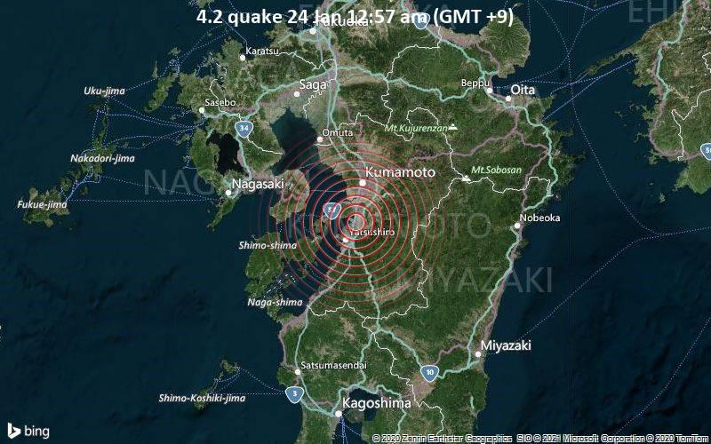 Erdbeben der Stärke 4.2 - Yatsushiro-gun, 5.5 km südlich von Matsubase, Japan, am Sonntag, 24. Jan 2021 um 00:57 Lokalzeit