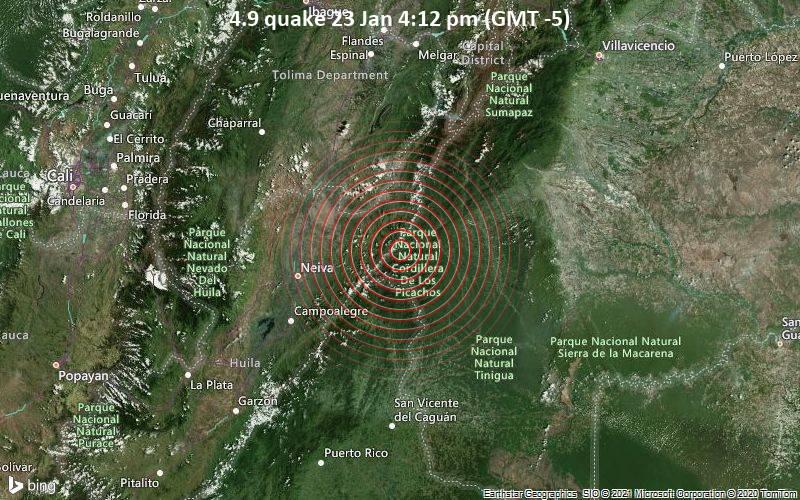 Erdbeben der Stärke 4.9 - Colombia, 64 km östlich von Neiva, Departamento del Huila, Kolumbien, am Samstag, 23. Jan 2021 um 16:12 Lokalzeit