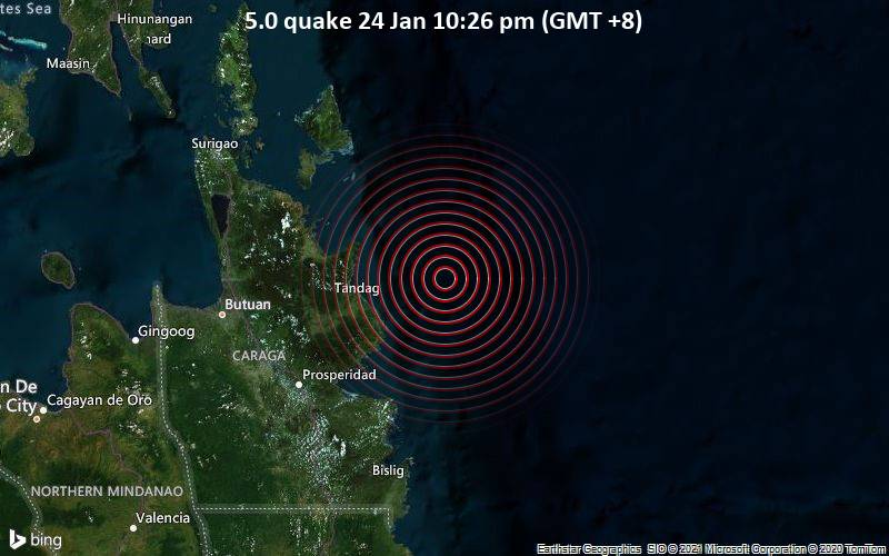 5.0 quake 24 Jan 10:26 pm (GMT +8)