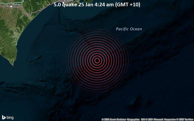 5.0 quake 25 Jan 4:24 am (GMT +10)