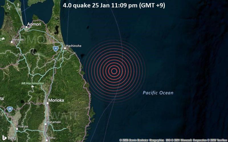 4.0 quake 25 Jan 11:09 pm (GMT +9)