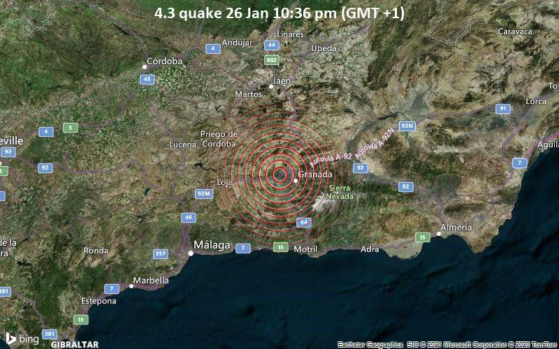 4.3 quake 26 Jan 10:36 pm (GMT +1)