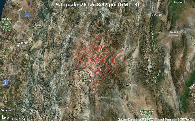 5.1 quake 26 Jan 8:37 pm (GMT -3)
