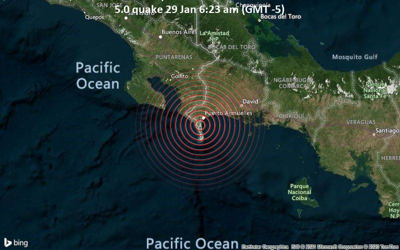 5.0 quake 29 Jan 6:23 am (GMT -5)