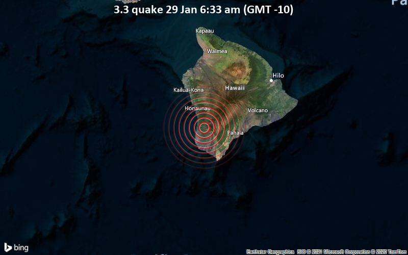 3.3 quake 29 Jan 6:33 am (GMT -10)