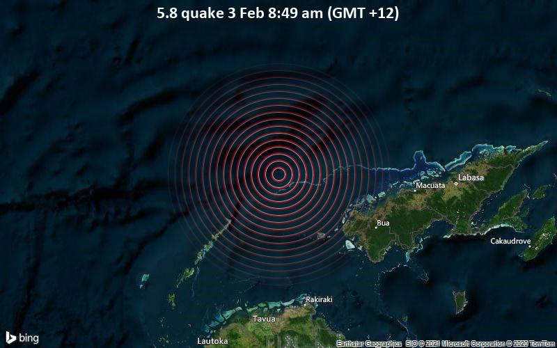 5,8 gempa pada 3 Februari 8:49 pagi (GMT +12)