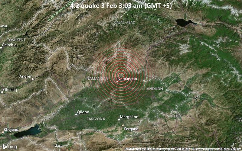 4.2 gempa bumi pada 3 Februari 3:03 pagi (GMT +5)
