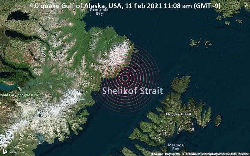 4.0 quake Gulf of Alaska, USA, 11 Feb 2021 11:08 am (GMT -9)
