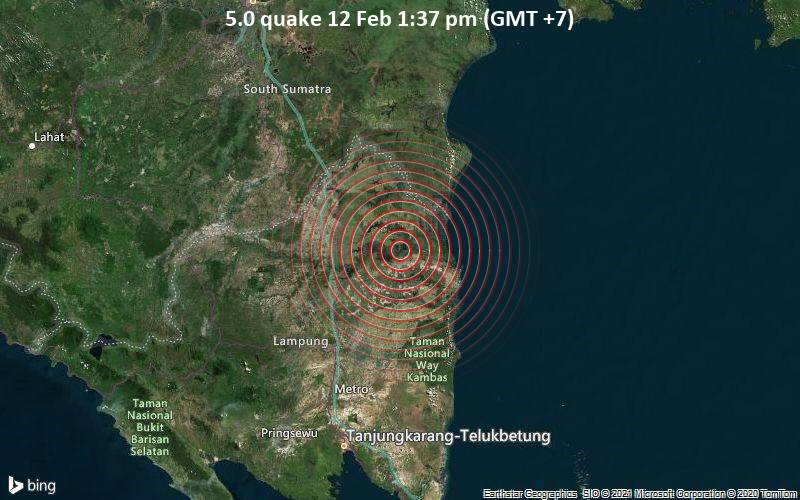 5.0 quake 12 Feb 1:37 pm (GMT +7)