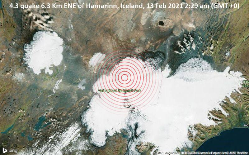 4.3 quake 6.3 Km ENE of Hamarinn, Iceland, 13 Feb 2021 2:29 am (GMT +0)