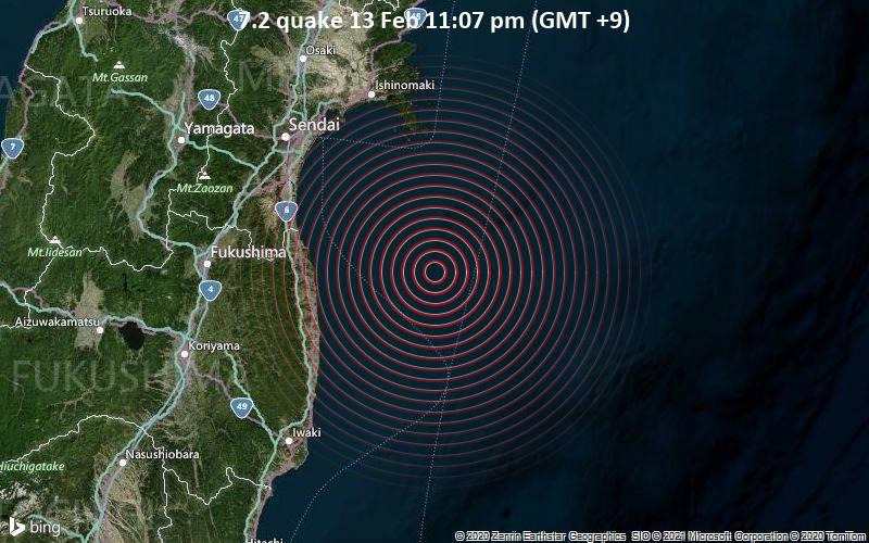 Schweres Erdbeben der Stärke 7.2 - Nordpazifik, 89 km südöstlich von Sendai, Präfektur Miyagi, Japan, am Samstag, 13. Feb 2021 um 23:07 Lokalzeit