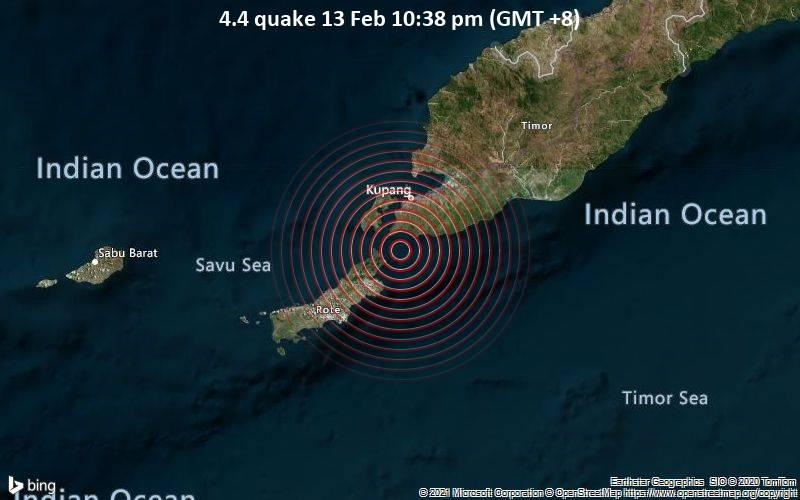 Moderates Erdbeben der Stärke 4.4 - Timor Sea, 31 km südlich von Kupang, East Nusa Tenggara, Indonesien, am Samstag, 13. Feb 2021 um 22:38 Lokalzeit