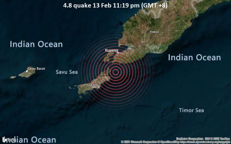 Moderates Erdbeben der Stärke 4.8 - Timor Sea, 40 km südlich von Kupang, East Nusa Tenggara, Indonesien, am Samstag, 13. Feb 2021 um 23:19 Lokalzeit