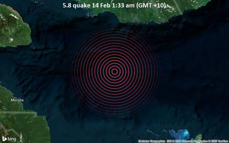 Starkes Magnitude 5.8 Erdbeben - Solomon Sea, 276 km östlich von Lae, Morobe Province, Papua-Neuguinea, am Sonntag, 14. Feb 2021 um 01:33 Lokalzeit
