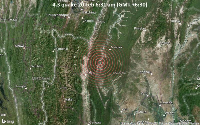4.3 quake 20 Feb 6:31 am (GMT +6:30)