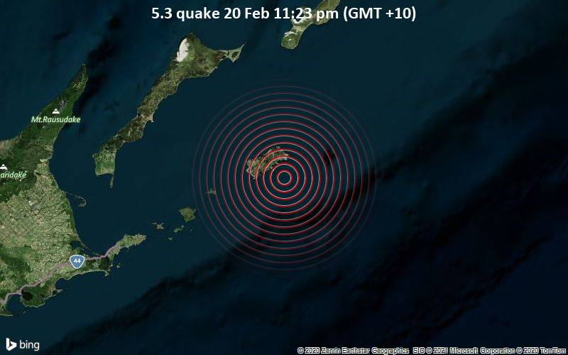 5.3 quake 20 Feb 11:23 pm (GMT +10)