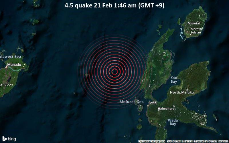 4.5 quake 21 Feb 1:46 am (GMT +9)