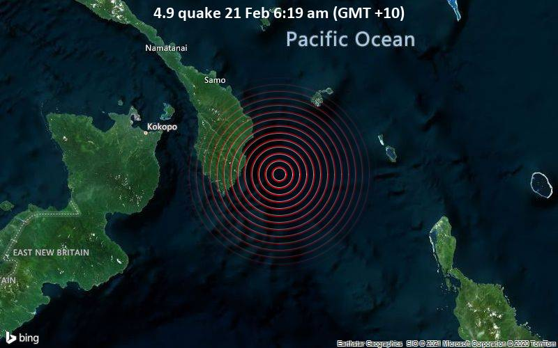 4.9 quake 21 Feb 6:19 am (GMT +10)