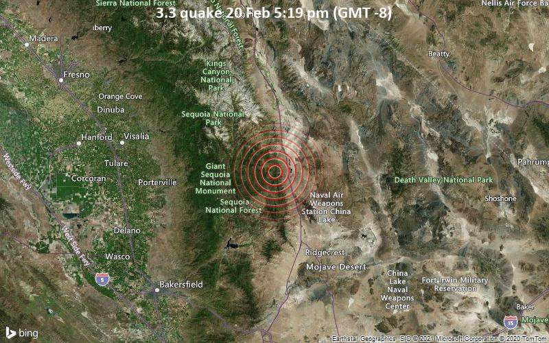3.3 quake 20 Feb 5:19 pm (GMT -8)