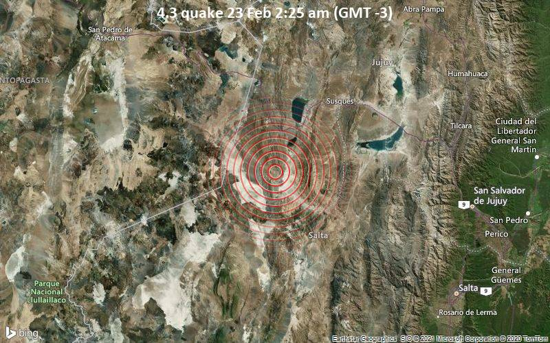 4.3 quake 23 Feb 2:25 am (GMT -3)