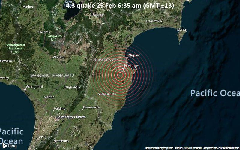 Magnitude 4 3 Earthquake Strikes Near Hastings Hastings District Hawke S Bay New Zealand Volcanodiscovery