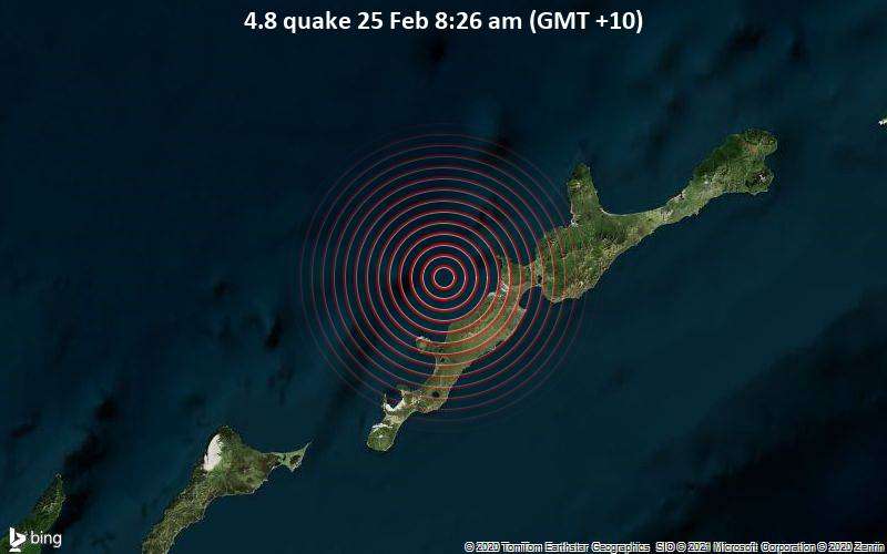 4.8 quake 25 Feb 8:26 am (GMT +10)