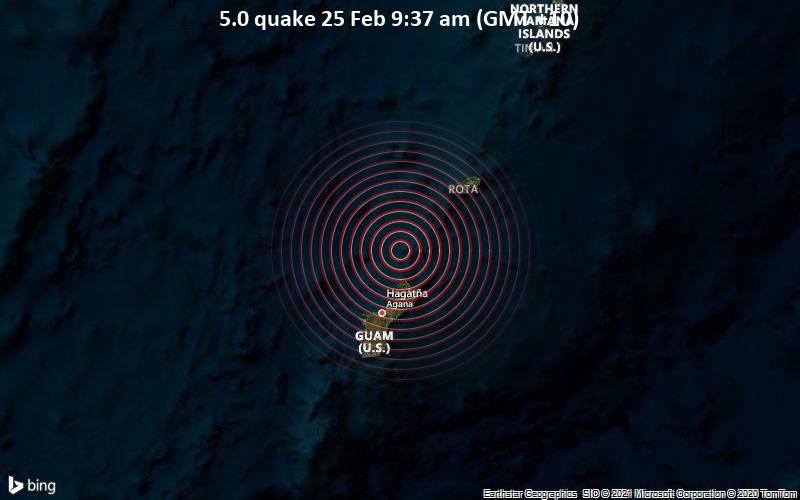5.0 quake 25 Feb 9:37 am (GMT +10)