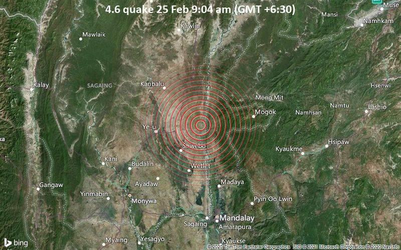 4.6 quake 25 Feb 9:04 am (GMT +6:30)