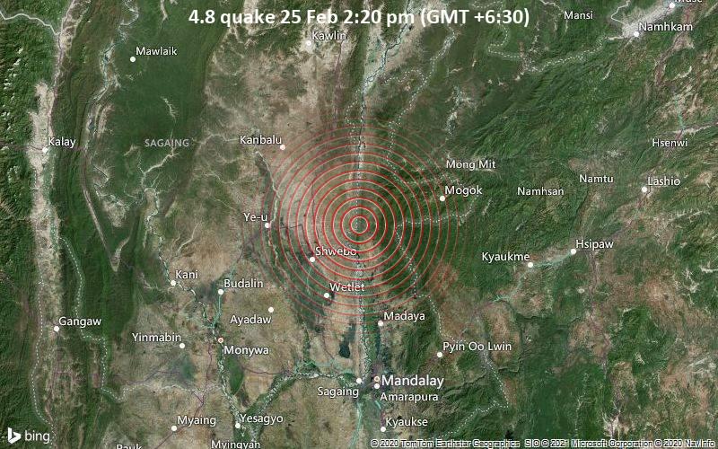 4.8 quake 25 Feb 2:20 pm (GMT +6:30)