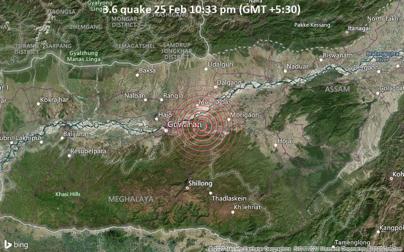 Leichtes Erdbeben der Stärke 3.6 - Marigaon, 30 km östlich von Gauhati, Kamrup Metro, Assam, Indien, am Donnerstag, 25. Feb 2021 um 22:33 Lokalzeit