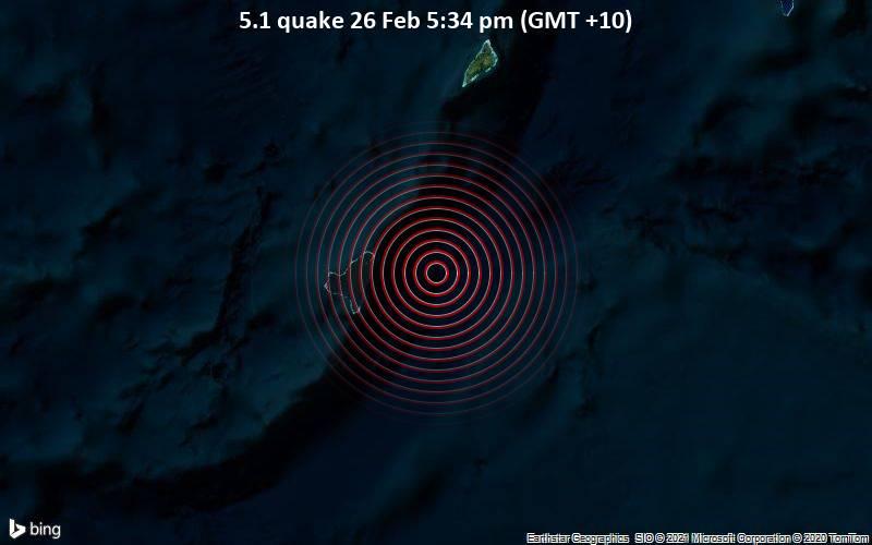 5.1 quake 26 Feb 5:34 pm (GMT +10)