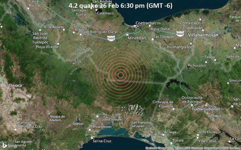 4.2 quake 26 Feb 6:30 pm (GMT -6)