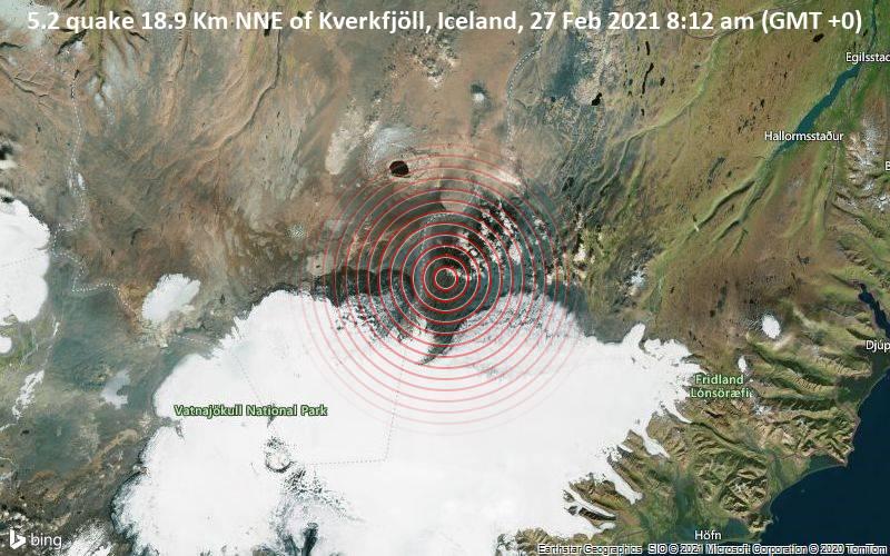 5.2 quake 18.9 Km NNE of Kverkfjöll, Iceland, 27 Feb 2021 8:12 am (GMT +0)