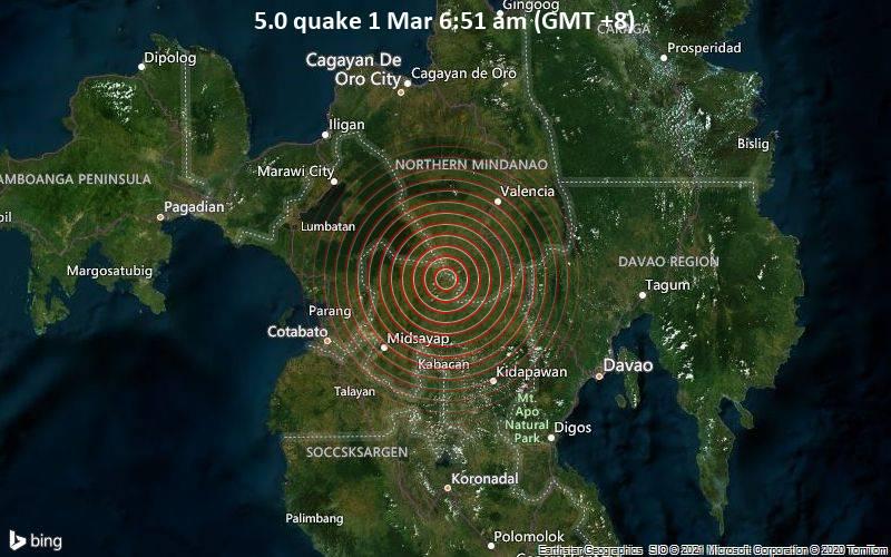 5.0 quake 1 Mar 6:51 am (GMT +8)