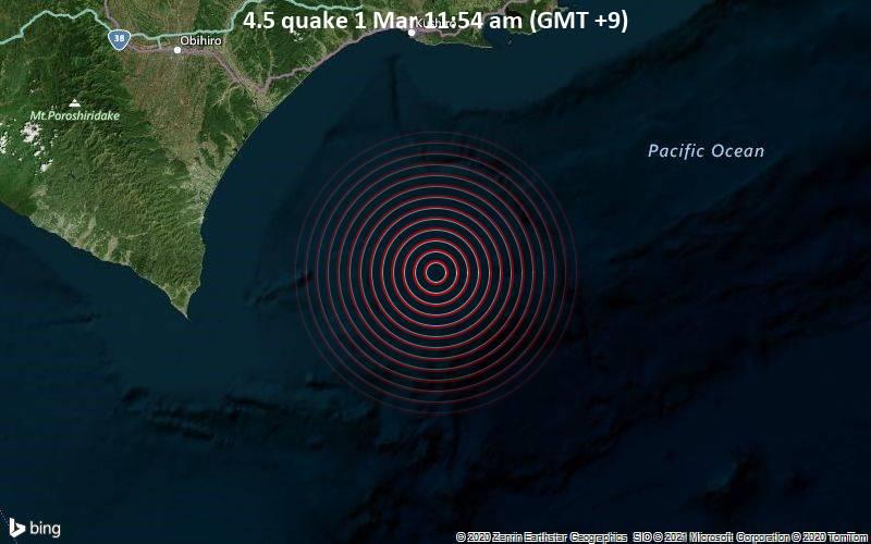 4.5 quake 1 Mar 11:54 am (GMT +9)