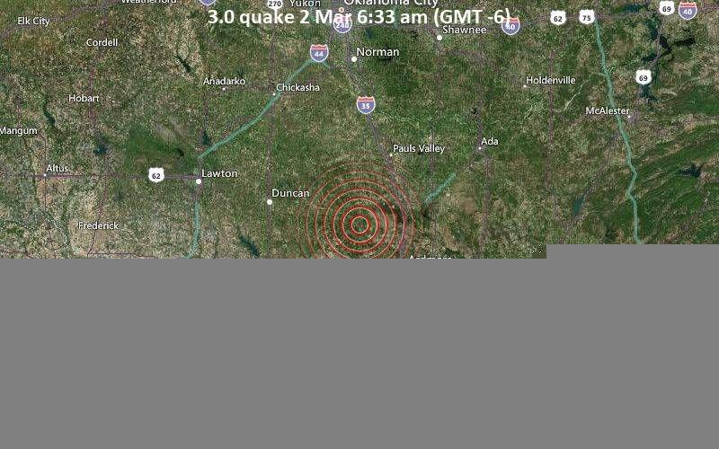 3.0 quake 2 Mar 6:33 am (GMT -6)