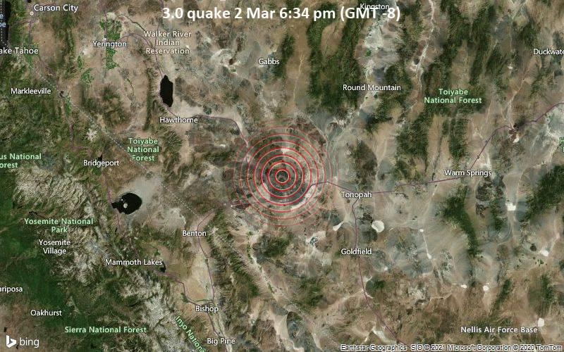 3.0 quake 2 Mar 6:34 pm (GMT -8)