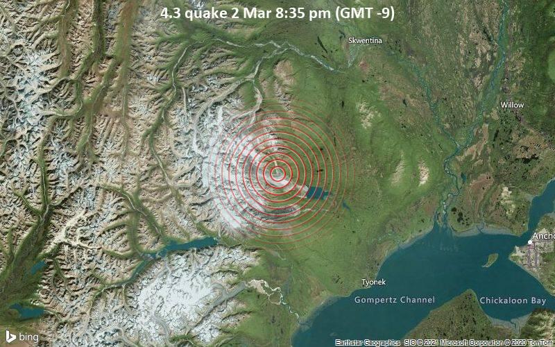 4.3 quake 2 Mar 8:35 pm (GMT -9)