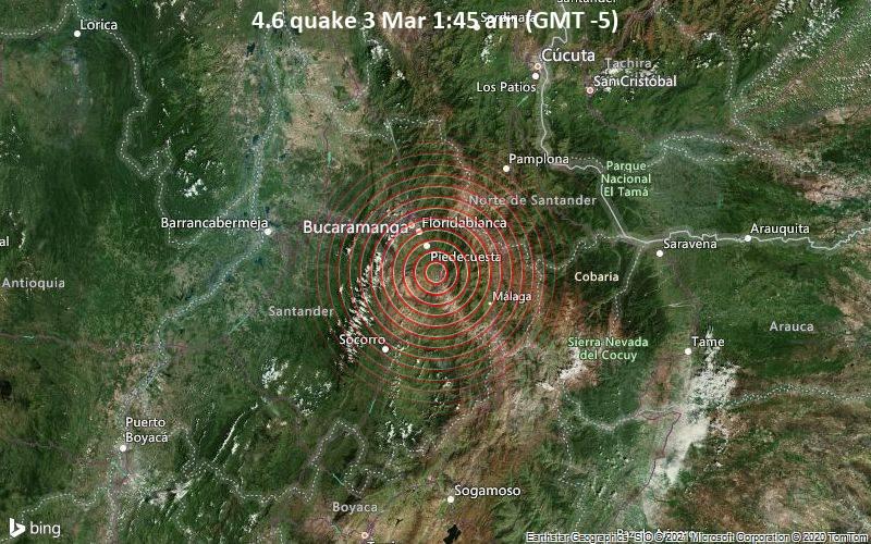 4.6 quake 3 Mar 1:45 am (GMT -5)
