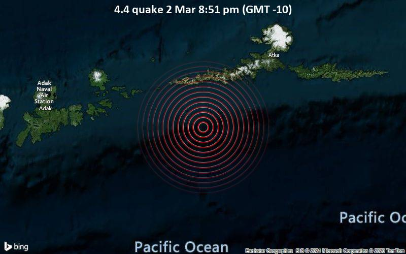 4.4 quake 2 Mar 8:51 pm (GMT -10)