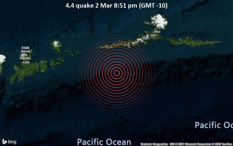 4.4 quake 2 Mar 8:51 pm (GMT -10)