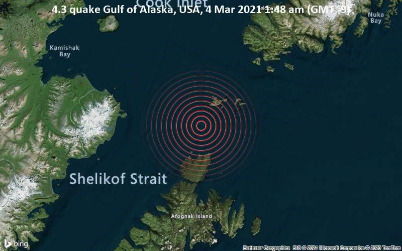 4.3 quake Gulf of Alaska, USA, 4 Mar 2021 1:48 am (GMT -9)