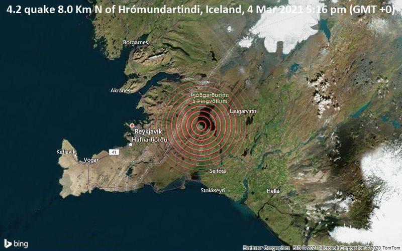 4.2 quake 8.0 Km N of Hrómundartindi, Iceland, 4 Mar 2021 5:16 pm (GMT +0)