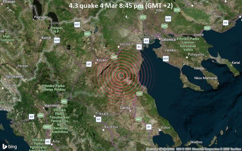 4.3 quake 4 Mar 8:45 pm (GMT +2)