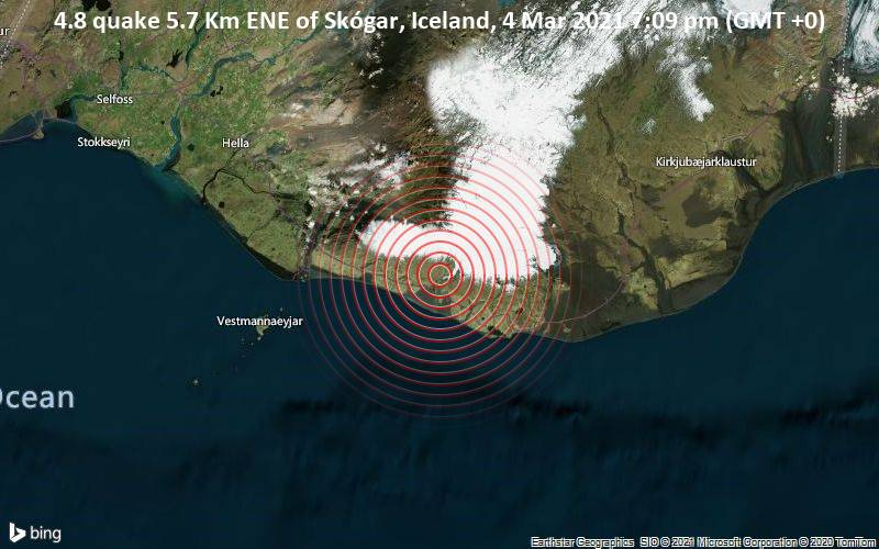 4.8 quake 5.7 Km ENE of Skógar, Iceland, 4 Mar 2021 7:09 pm (GMT +0)