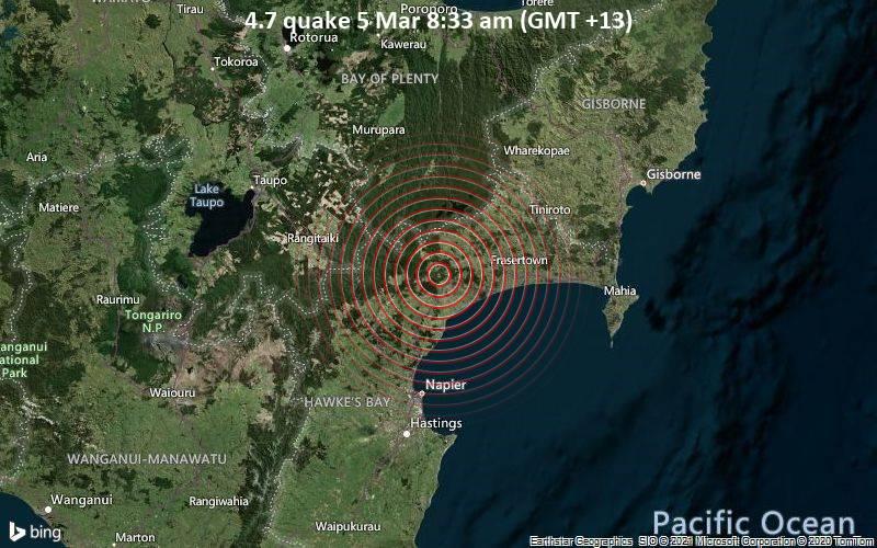 Moderates Erdbeben der Stärke 4.7 - Wairoa District, 53 km nördlich von Napier City, Hawke's Bay, Neuseeland, am Freitag,  5. Mär 2021 um 08:33 Lokalzeit