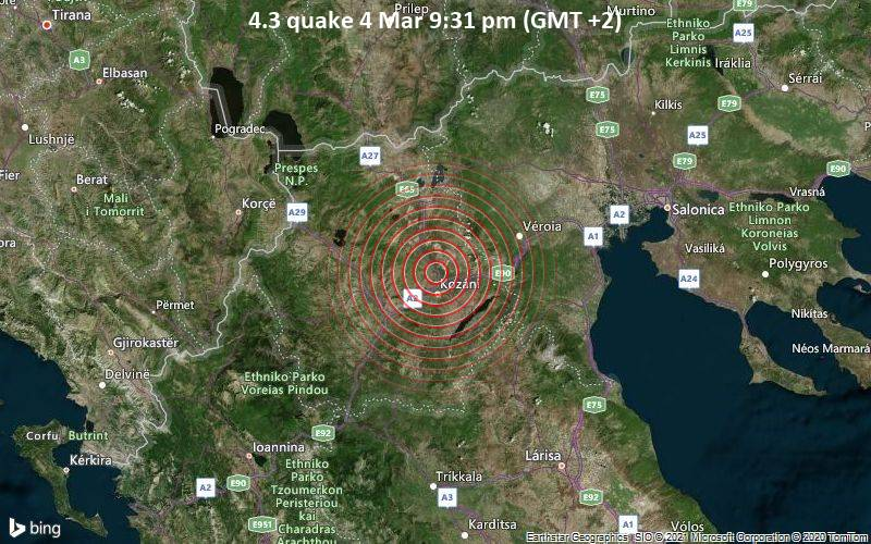 4.3 quake 4 Mar 9:31 pm (GMT +2)